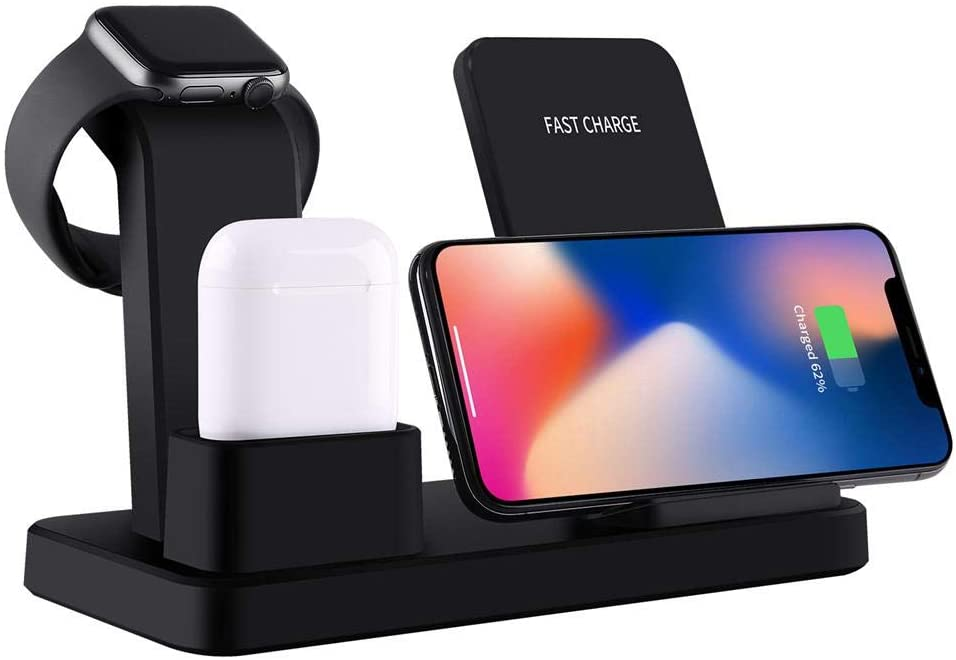 3 In 1,Wireless Charger Stand,iPhone stand,Apple Watch,Airpods,OOOUSE 10W Qi,Fast,Wireless charger,Charging Station,Dock,Pad Holder,iPhone X/8 Plus/XS,MAX/XR/8/XS,Samsung S9/S8,IWatch Series 4/3/2/1