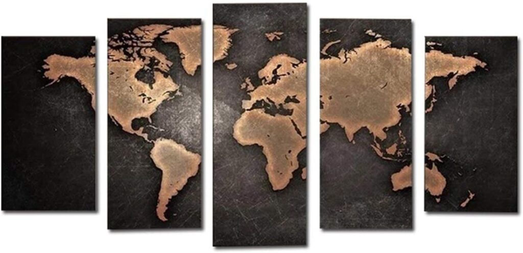 world,map,canvas,canvas set,world map,wall art,canvas set,black,gold,decoration,home decor,Eid,Gifts,2020,Eid Al Adha
